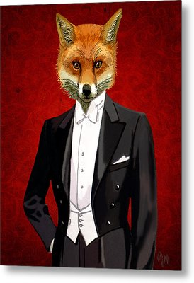 Fox In A Evening Suit Metal Print by Kelly McLaughlan
