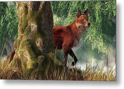 Fox In A Forest Metal Print by Daniel Eskridge