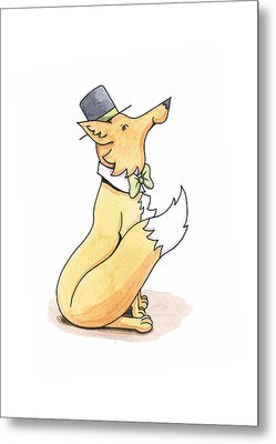 Fox In Top Hat Metal Print by Christy Beckwith