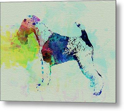 Fox Terrier Watercolor Metal Print