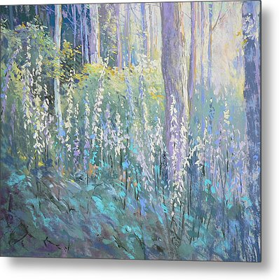 Foxgloves In The Woods Metal Print by Jackie Simmonds