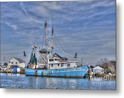 Shrimp Boat At Port Metal Print by Benanne Stiens