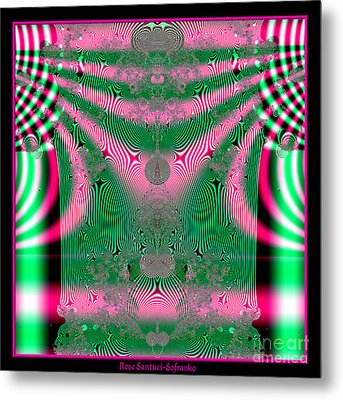 Fractal 34 Kimono In Pink And Green Metal Print by Rose Santuci-Sofranko