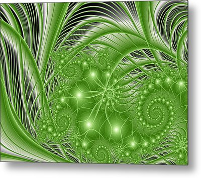 Fractal Abstract Green Nature Metal Print