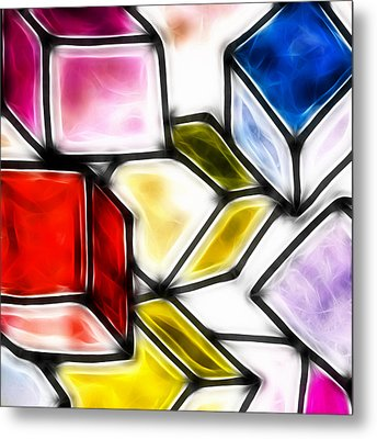 Fractalius Cubes Metal Print by Sharon Lisa Clarke
