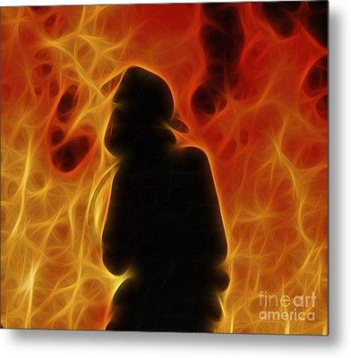 Fractalius Fiery Firefighter Metal Print by Jim Lepard