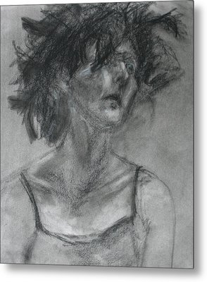 Gathering Strength - Original Charcoal Drawing - Contemporary Impressionist Art Metal Print by Quin Sweetman