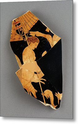 Fragment Of An Apulian Red-figure Bell Krater Black Fury Metal Print