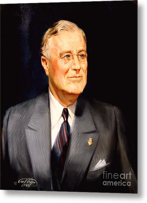 Frainklin Delano Roosevelt Metal Print by Art By Tolpo Collection