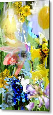 Metal Print featuring the digital art Framed In Flowers by Cathy Anderson