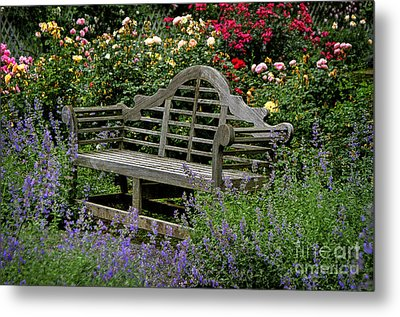 Metal Print featuring the photograph Framed In Flowers by Vicki DeVico