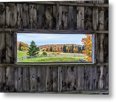 Framed-autumn In Vermont Metal Print