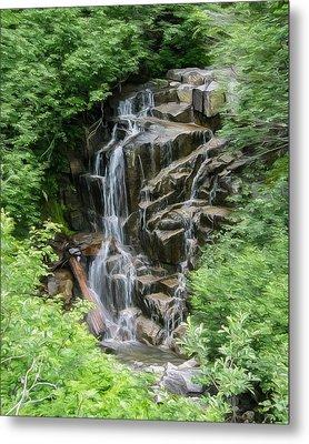 Framed Waterfalls On Mount Rainier Metal Print by John Haldane