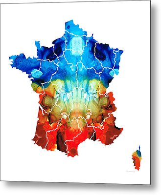 France - European Map By Sharon Cummings Metal Print by Sharon Cummings
