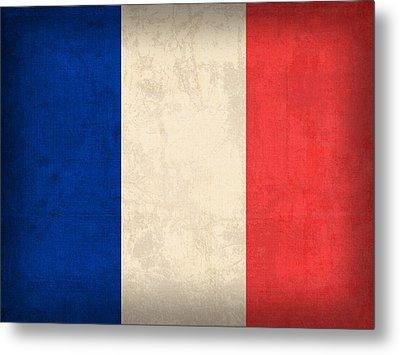 France Flag Distressed Vintage Finish Metal Print