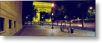 France, Paris, Arc De Triomphe, Night Metal Print by Panoramic Images
