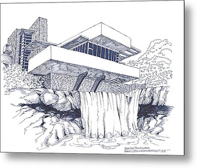 Frank Lloyd Wright Falling Water Architecture Metal Print