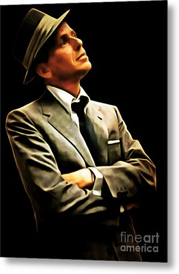 Frank Sinatra 20150125brun Metal Print by Wingsdomain Art and Photography