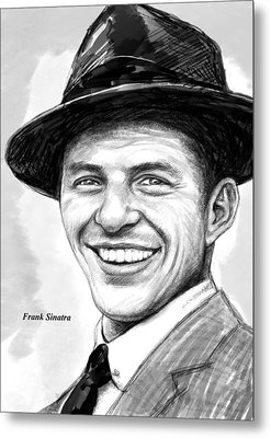 Frank Sinatra Art Drawing Sketch Portrait Metal Print
