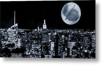 Frank Sinatra New York City Moon Metal Print by Dan Sproul