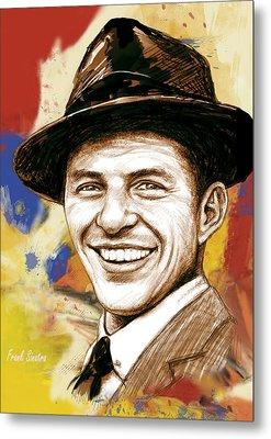 Frank Sinatra - Stylised Pop Art Drawing Portrait Poster  Metal Print