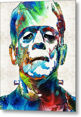 Frankenstein Art - Colorful Monster - By Sharon Cummings Metal Print