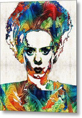 Frankenstein Bride Art - Colorful Monster Bride - By Sharon Cummings Metal Print