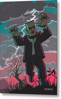 Frankenstein Creature In Storm  Metal Print by Martin Davey
