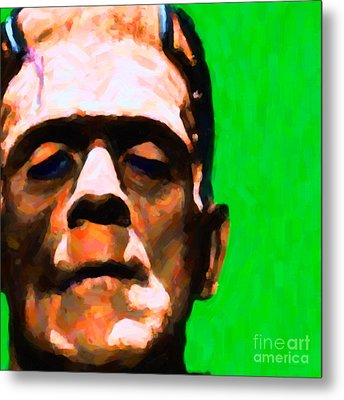 Frankenstein Painterly Green Square Metal Print by Wingsdomain Art and Photography