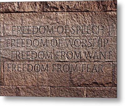 Franklin Delano Roosevelt Memorial Freedom Quote Metal Print by John Cardamone