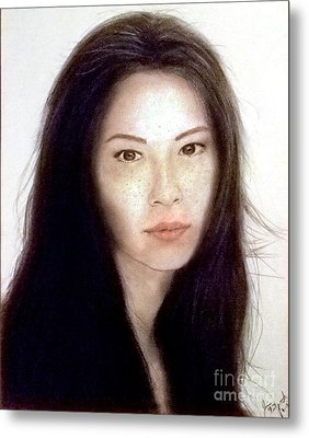 Freckled Faced Beauty Lucy Liu  Metal Print by Jim Fitzpatrick