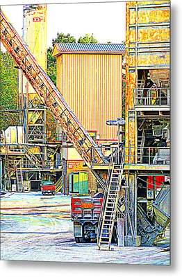 Fred And Barney At Work The Quarry At Ashcom Pa Metal Print by Mary Beth Landis