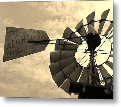 Fredericksburg Herb Farm Aermotor Windmill Sepia Metal Print by Elizabeth Sullivan