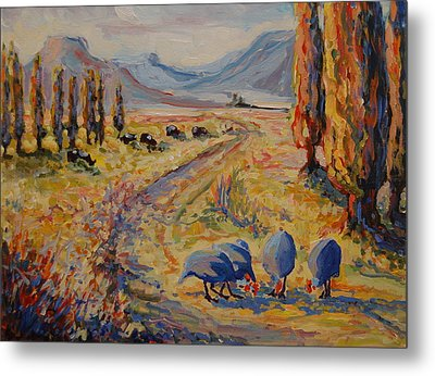 Free State Landscape With Guinea Fowl Metal Print by Thomas Bertram POOLE