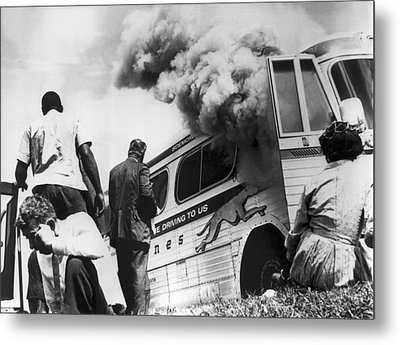 Freedom Riders Bus Burned Metal Print by Underwood Archives