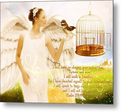Freedom Song With Scripture Metal Print