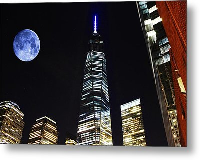 Freedom Tower And Blue Moon Metal Print by Natalie Ortiz