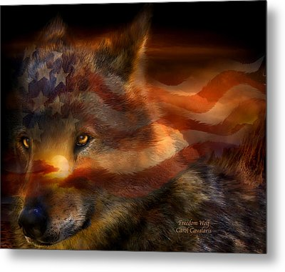 Freedom Wolf Metal Print by Carol Cavalaris