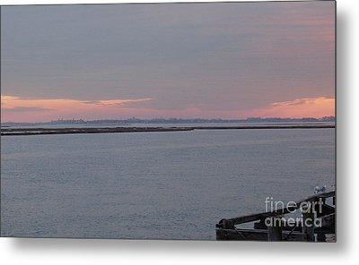 Freeport Winter Sunset At The Nautical Mile Metal Print by John Telfer
