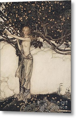 Freia The Fair One Illustration From The Rhinegold And The Valkyrie Metal Print by Arthur Rackham