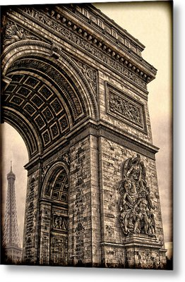 French - Arc De Triomphe And Eiffel Tower IIi Metal Print by Lee Dos Santos