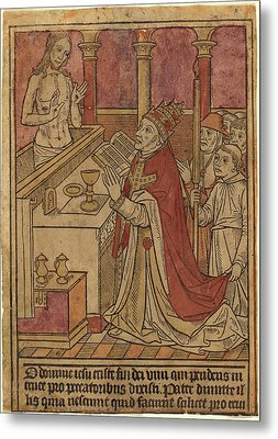 French 15th Century, The Mass Of Saint Gregory Recto Metal Print
