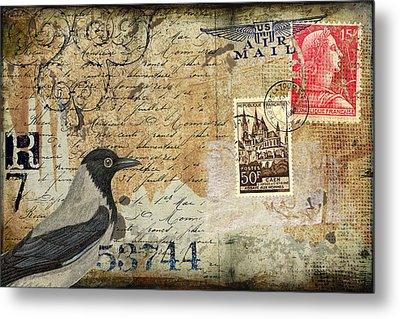 French Bird Postcard Metal Print
