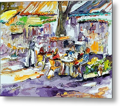 French Bistro Street Scene Metal Print by Ginette Callaway