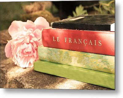 Metal Print featuring the photograph French Books And Peony by Brooke T Ryan