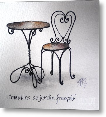 French Chair And Table Metal Print by Sandra Phryce-Jones