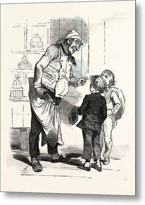 French Cook Talking With Two Children, Europe Metal Print