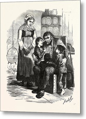 French Family In The Kitchen, France. Interior, Kitchen Metal Print