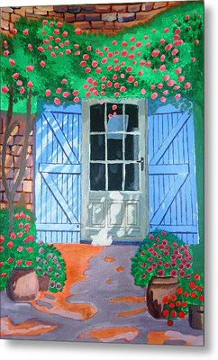 Metal Print featuring the painting French Farm Yard by Magdalena Frohnsdorff