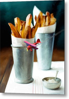 French Fries Fly-by Metal Print by Snake Jagger